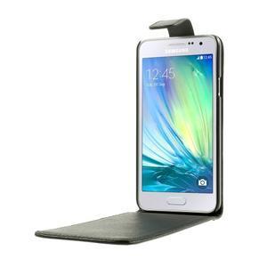 PU kožené flipové pouzdro na Samsung Galaxy A3 - černé - 2