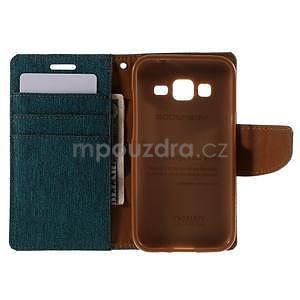 Stylové textilní/PU kožené pouzdro na Samsung Galaxy Core Prime - zelenomodré - 2