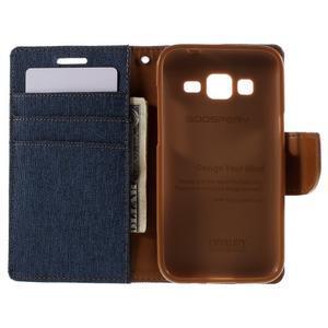 Stylové textilní/PU kožené pouzdro na Samsung Galaxy Core Prime - modré - 2