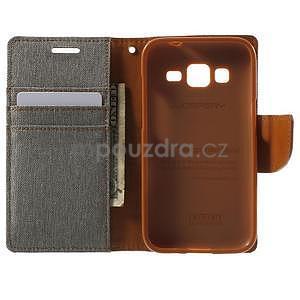 Stylové textilní/PU kožené pouzdro na Samsung Galaxy Core Prime - šedé - 2