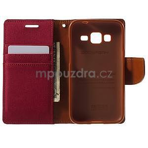 Stylové textilní/PU kožené pouzdro na Samsung Galaxy Core Prime - červené - 2