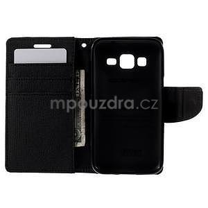Stylové textilní/PU kožené pouzdro na Samsung Galaxy Core Prime - černé - 2