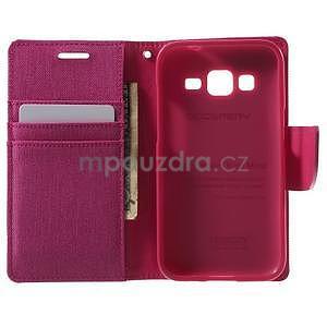 Stylové textilní/PU kožené pouzdro na Samsung Galaxy Core Prime - růžové - 2