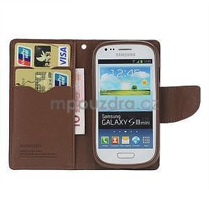 Diary peněženkové pouzdro na mobil Samsung Galaxy S3 mini - černé/hnědé - 2