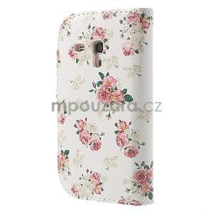 Peněženkové pouzdro na Samsung Galaxy S3 mini - květiny - 2
