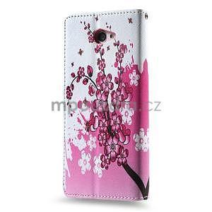 Peněženkové pouzdro na mobil Sony Xperia M2 - kvetoucí větvička - 2