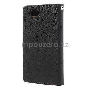 Fancy peněženkové pouzdro na Sony Xperia Z1 Compact - černé/hnědé - 2