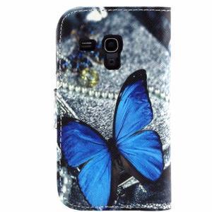 Peněženkové pouzdro pro Samsung Galaxy Trend Plus / Galaxy S duos - modrý motýl - 2