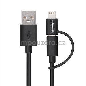 MFi propojovací kabel 8 pin pro zařízení Apple a micro USB 2v1 - 1 metr - černý - 2