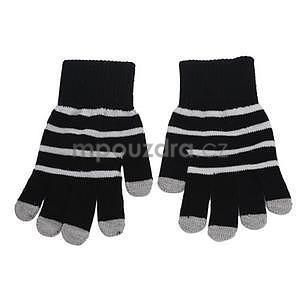Pruhované rukavice pro práci s mobilem - černé - 2