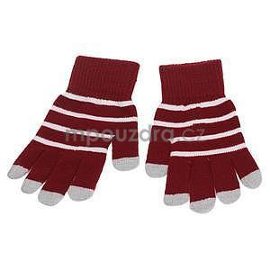 Pruhované rukavice pro práci s mobilem - červené - 2