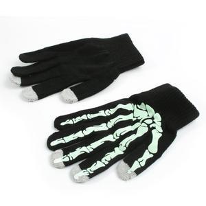 Skeleton rukavice na dotykové telefony - černé/bílé - 2