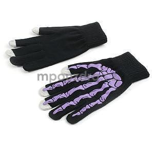 Skeleton rukavice na dotykové telefony - černé/fialové - 2