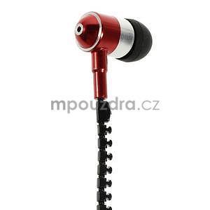 Dvoubarevná zipová sluchátka do uší, červená / černá - 2