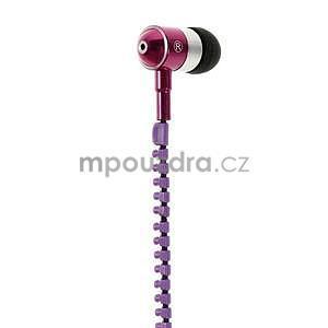 Dvoubarevná zipová sluchátka do uší, fialová / rose - 2