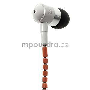 Dvoubarevná zipová sluchátka do uší, oranžová / bílá - 2