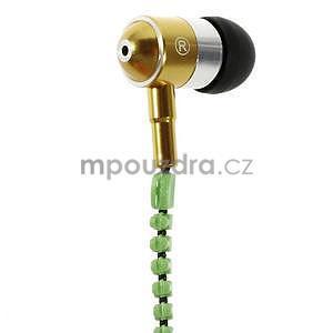 Dvoubarevná zipová sluchátka do uší, zelená / žlutá - 2