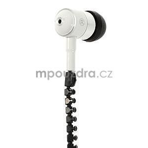 Dvoubarevná zipová sluchátka do uší, bílá / černá - 2