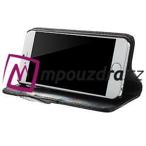 Peněženkové PU kožené pouzdro na iPhone 6, 4.7 - černé - 3