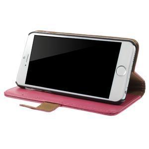 Peněženkové PU kožené pouzdro na iPhone 6, 4.7 - růžové - 3