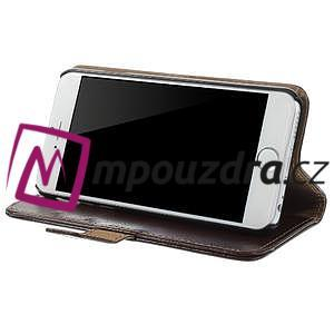 Peněženkové PU kožené pouzdro na iPhone 6, 4.7 - hnědé - 3