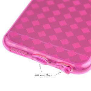 Gelové kostkované pouzdro na iPhone 6, 4.7 - růžové - 3