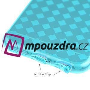 Gelové kostkované pouzdro na iPhone 6, 4.7 - modré - 3