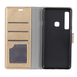 Litchi PU kožené peněženkové pouzdro s texturou na Samsung Galaxy A9 - zlaté - 3