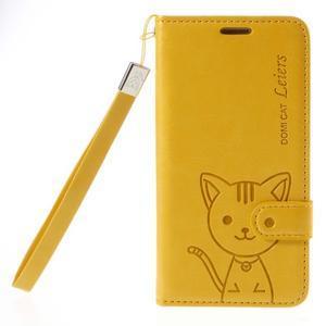 Kočička Domi PU kožené pouzdro na Samsung Galaxy A5 - žluté - 3