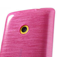 Gelové kartáčové pouzdro na Nokia Lumia 520- růžové - 3/5