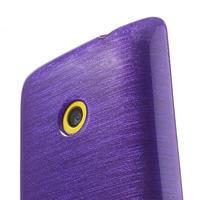 Gelové kartáčové pouzdro na Nokia Lumia 520- fialové - 3/5