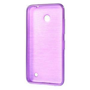 Gelové Kartáčové pouzdro na Nokia Lumia 630- fialové - 3