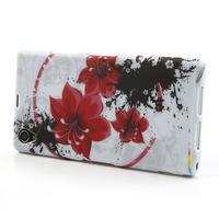 Gelové pouzdro na Sony Xperia Z1 C6903 L39- červený květ - 3/5