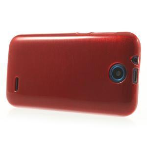 Gelové kartáčované pouzdro na HTC Desire 310- červené - 3