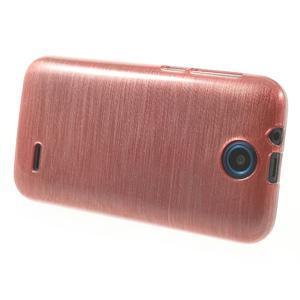 Gelové kartáčované pouzdro na HTC Desire 310- světlerůžové - 3