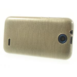 Gelové kartáčované pouzdro na HTC Desire 310- zlaté - 3