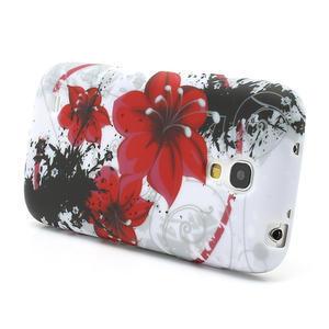 Gelové pouzdro pro Samsung Galaxy S4 mini i9190- červený květ - 3