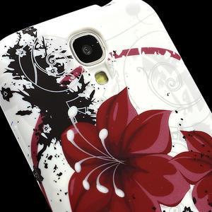 Gelové pouzdro pro Samsung Galaxy S4 i9500- červený květ - 3