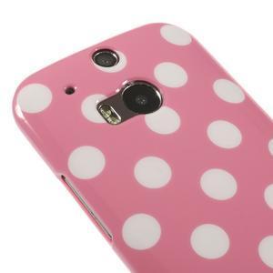 Gelové-PUNTÍKY pouzdro pro HTC one M8- růžové - 3
