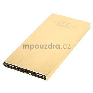 Luxusní kovová externí nabíječka power bank 12 000 mAh - zlatá - 3