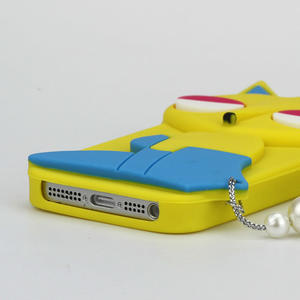 Gelové 3D pouzdro na iPhone 5, 5s- kočka žlutá - 3