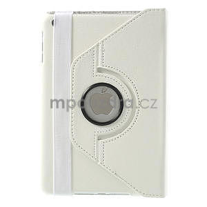 PU kožené 360 °  pouzdro pro iPad mini- bílé - 3