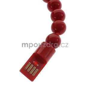 Korálkový náramek micro USB, červený - 3