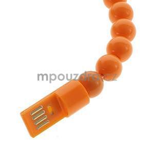 Korálkový náramek micro USB, oranžový - 3