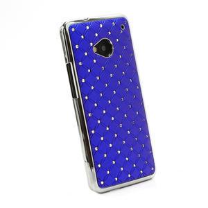 Drahokamové pouzdro pro HTC one M7- modré - 3