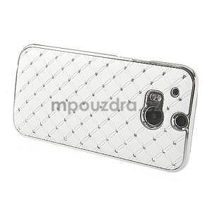 Drahokamové pouzdro pro HTC one M8- bílé - 3