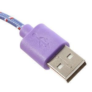 Tkaný odolný micro USB kabel s délkou 2m - fialový - 3