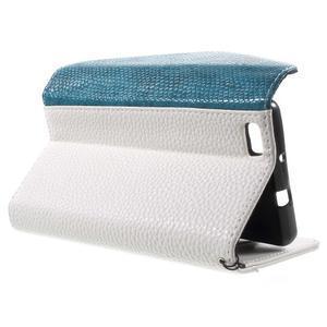 Luxusní peněženkové pouzdro na Huawei P8 Lite - bílé / modrozelené - 3