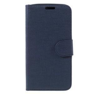 Cloth PU kožené pouzdro na mobil Microsoft Lumia 550 - tmavěmodré - 3