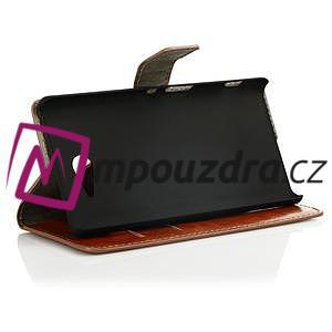 Peněženkové PU kožené pouzdro na Sony Xperia M2 D2302 - hnědé - 3